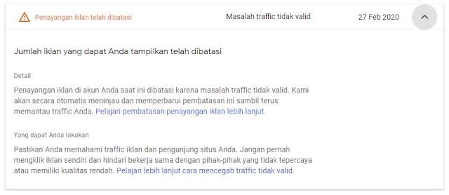 adsense traffic tidak valid