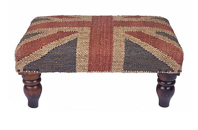 vintage union jack ottoman, footstool