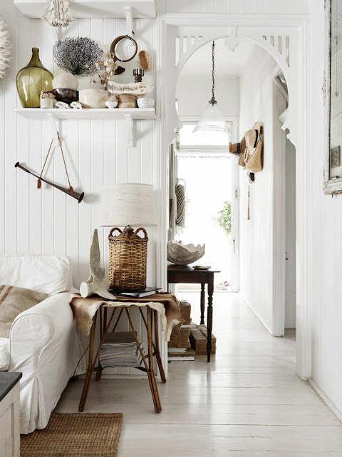 Rustic Bohemian Living Room Interior Design by Kara Rosenlund with loads of texture and vintage beachy style. #beachy #livingroom #cottage #rusticdecor