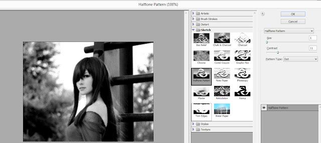 menggunakan efek halftone pattern...