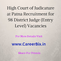 High Court of Judicature at Patna Recruitment for 98 District Judge (Entry Level) Vacancies