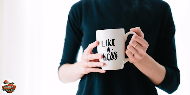 "Featured in the article: ""5 Most Effective Ways For Boosting Your Leadership Self-Esteem"". Woman leader with like a boss cup sell affirmation."