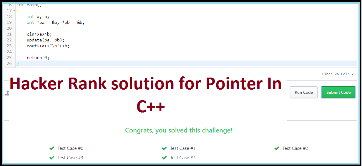 Hacker Rank solution for Pointer In C++