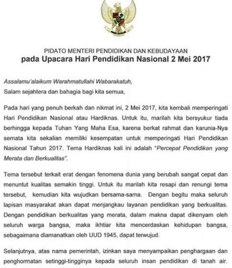 gambar naskah pidato Mendikbud Pada Upacara Hardiknas 2 mei 2017