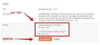Settingan Privacy Blogger