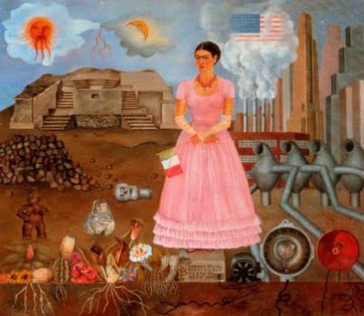 Frida na fronteira entre o México e os Estados Unidos