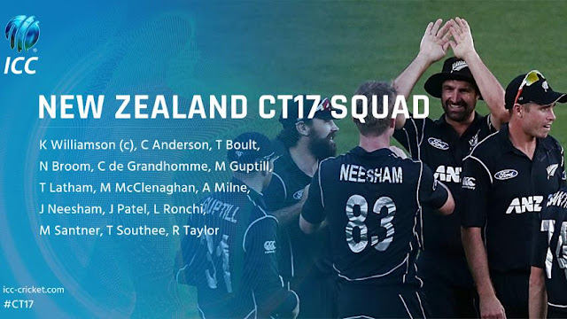 ICC Champions Trophy 2017 New Zealand Team Players List