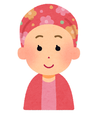 花柄のケア帽子をかぶった人のイラスト