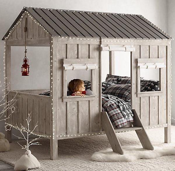 غرفة نوم اطفال ,بسرير , لون رصاصي , اشكال جمالية مختلفة