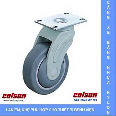 Bánh xe cao su xoay càng nhựa chịu tải trọng 70kg | STO-3856-448 www.banhxepu.net