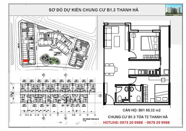 Sơ đồ căn hộ số B01 chung cư T2 Thanh Hà