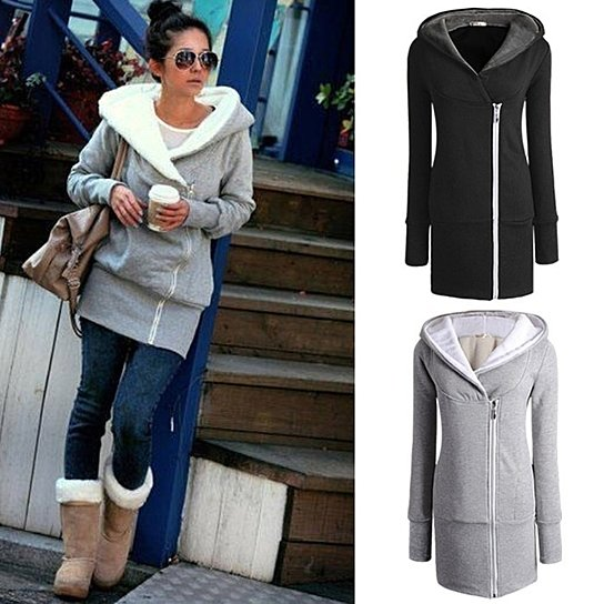 Women's autumn winter Long Zip Tops Hoodie Coat Jacket Outerwear women coat