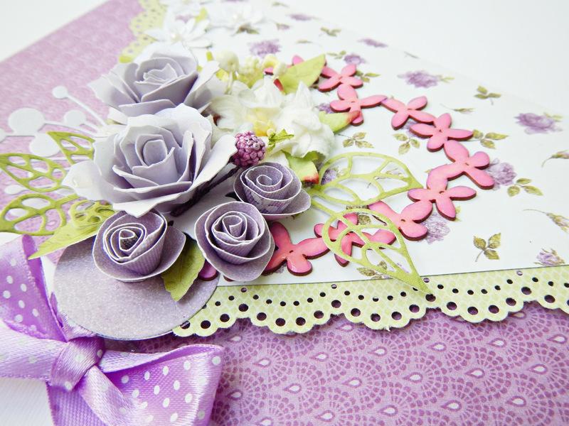 Kartka kopertówka ręcznie robiona z kwiatami