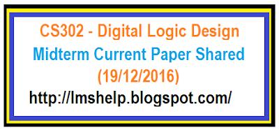CS302 Midterm Current Paper