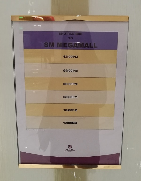 Free Shuttle Service Schedule from Okada Manila to SM Megamall