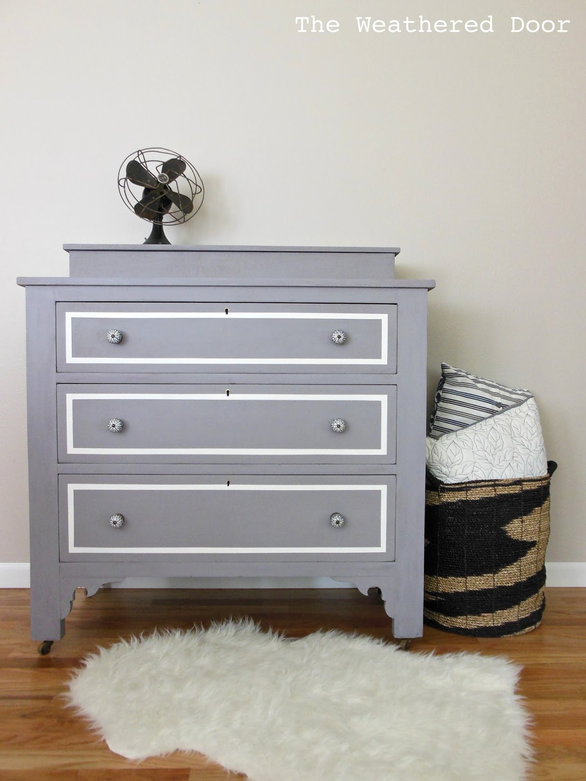 A Plum Grey Dresser With Modern Lines The Weathered Door