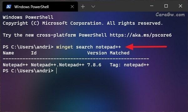 perintah winget untuk install aplikasi notepad++