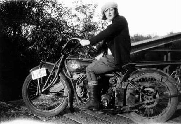 Vintage Woman Motorcycle Rider on American Motorcycles