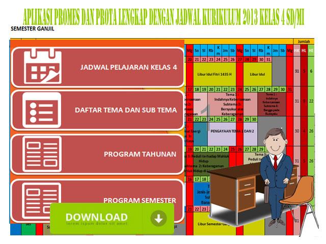 Aplikasi Prota, Promes Lengkap Dengan Jadwal Kurikulum 2013 Kelas 4 SD/MI