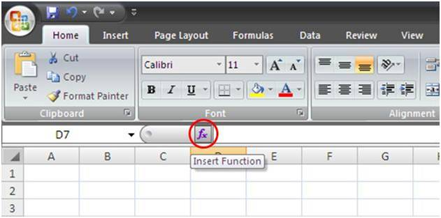 Tombol Insert Function Excel