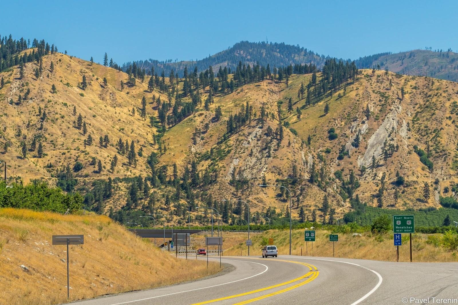 Выведя из каньона, дорога повела нас  мимо симпатичных холмов, на которых тут и там стали появляться деревья.