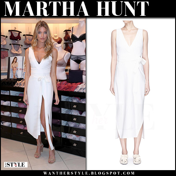 Martha Hunt in white midi belted dress khaite what she wore august 1 2017 model style