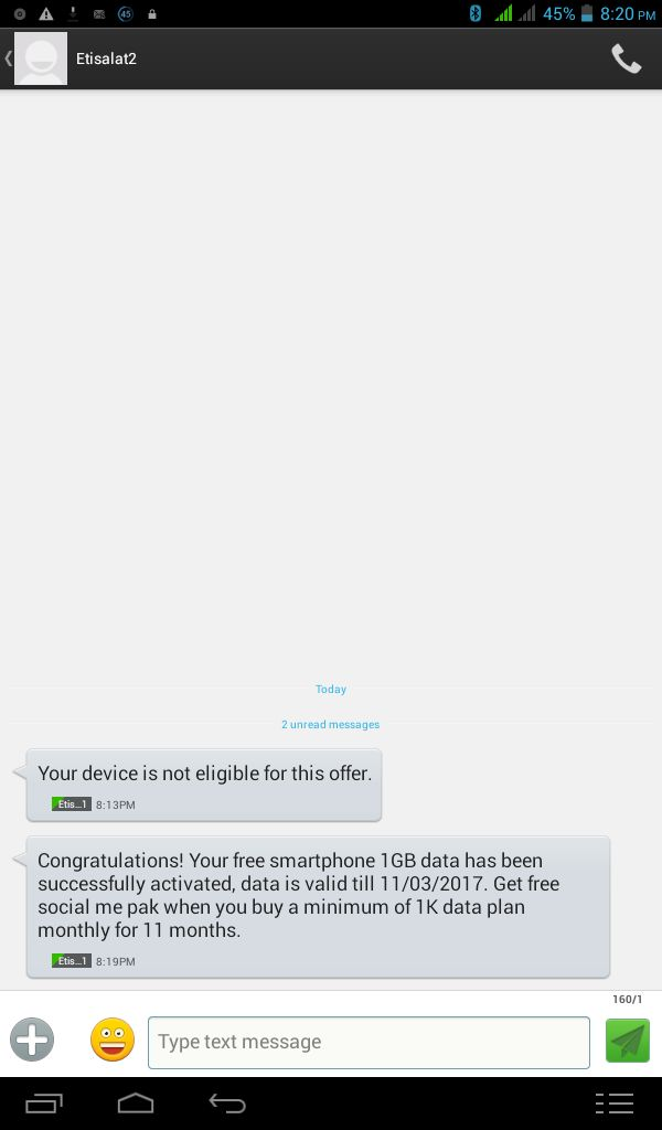 Etisalat Free 1GB Data