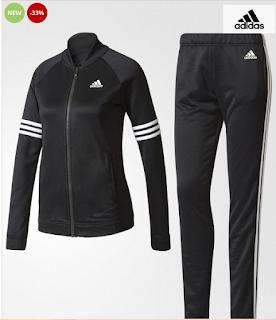 Trening Adidas pentru femei negru cu dungi albe cumpara aici