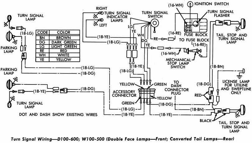 Dodge D100600 and W100500 Turn Signal Wiring Diagram