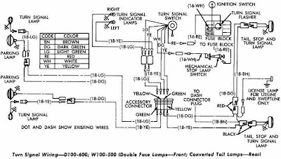 Dodge D100-600 and W100-500 Turn Signal Wiring Diagram