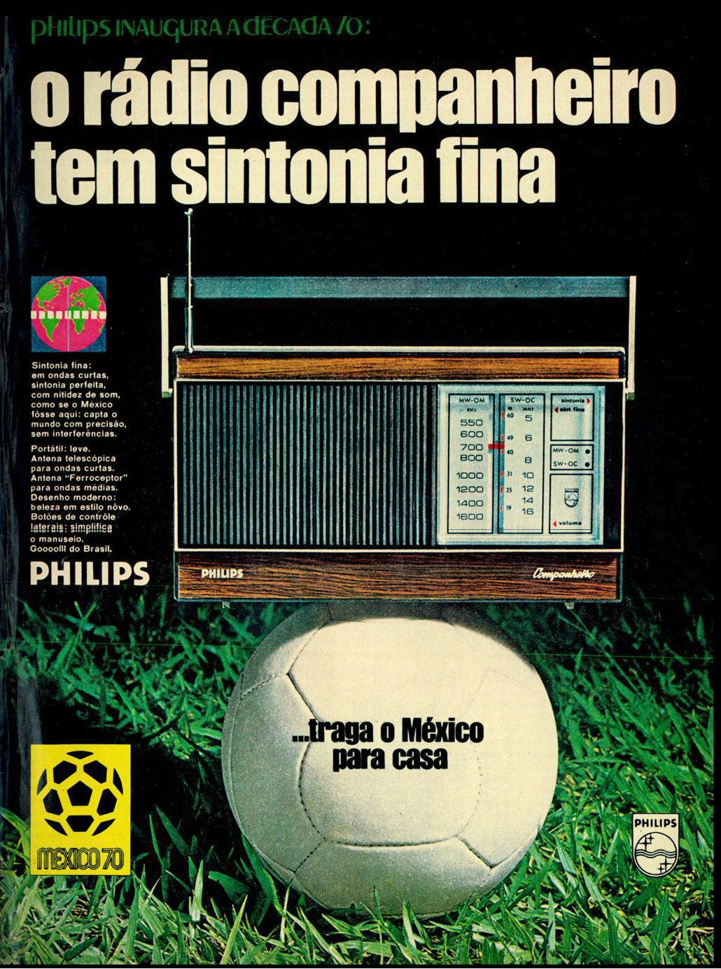 Propaganda antiga do Rádio Philips apresentado às vésperas da Copa do Mundo em 1970