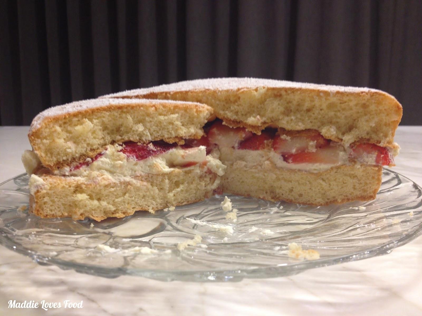 Strawberries & Cream Sponge Cake - Maddie Loves Food