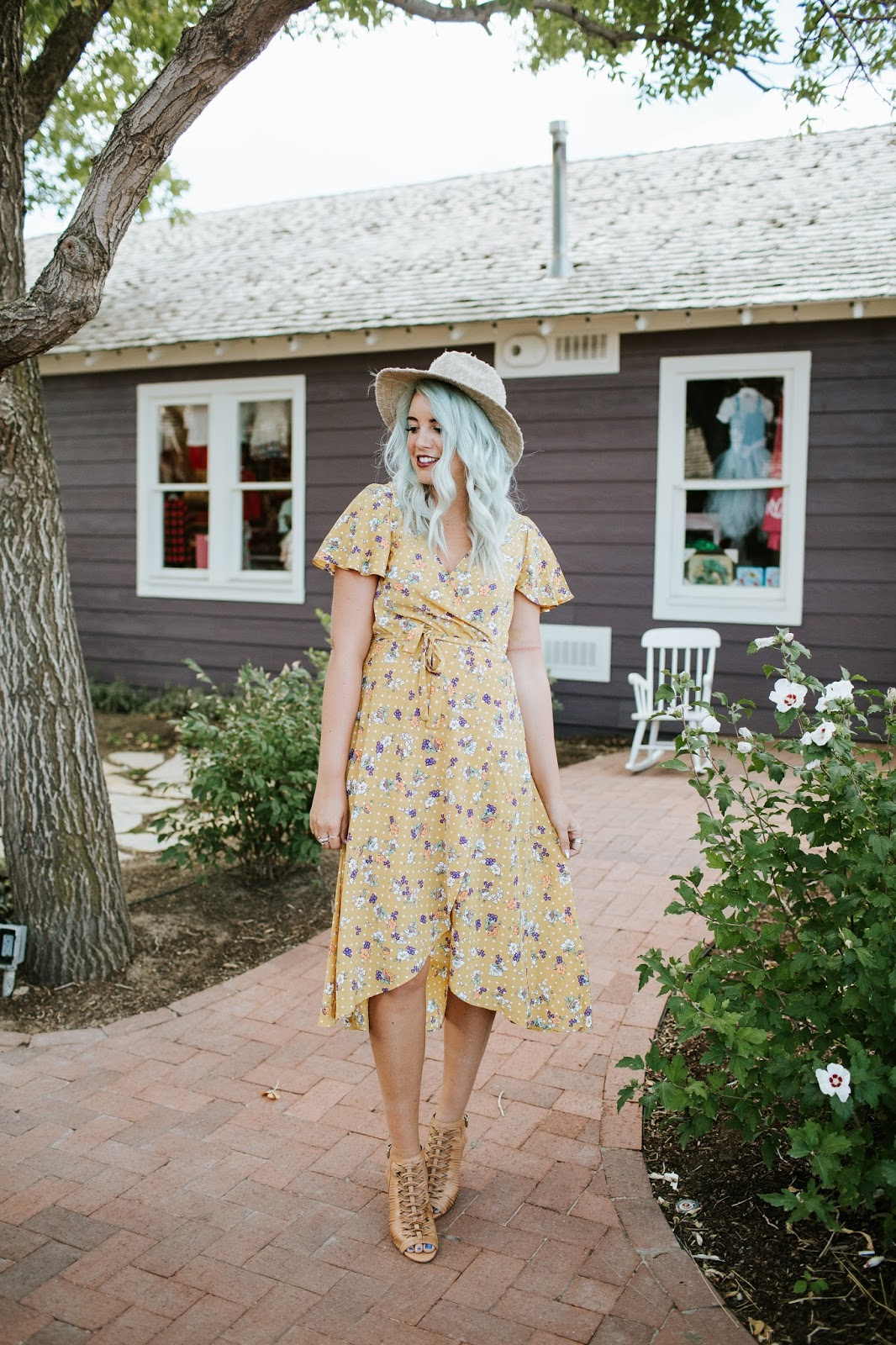 Floral Dress, Fall Outfit, Mustard Dress