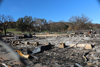 Close up of remains of burned buildings at Western Town Paramount Ranch.
