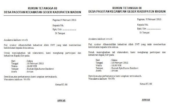 Contoh Surat Undangan Arisan Rutin RT Ukuran HVS 2 Kolom