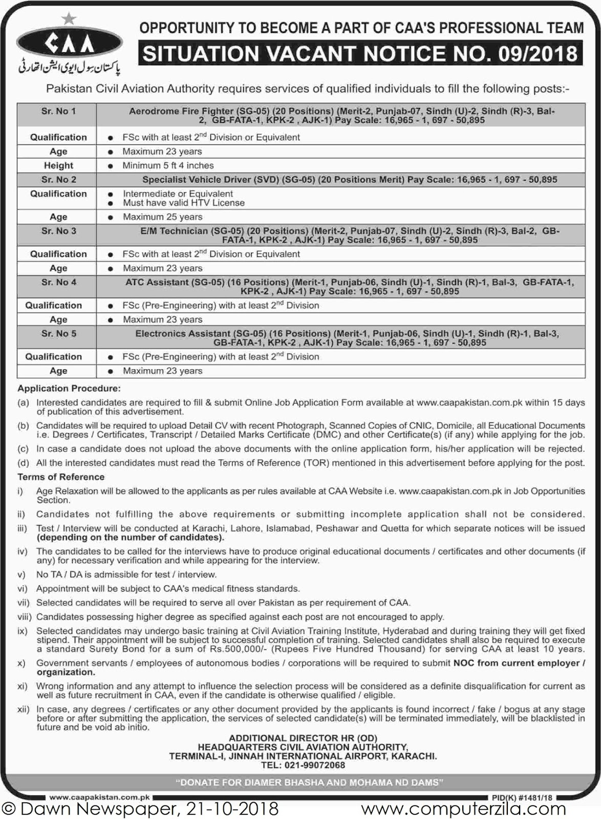 Situation Vacant at Pakistan Civil Aviation Authority