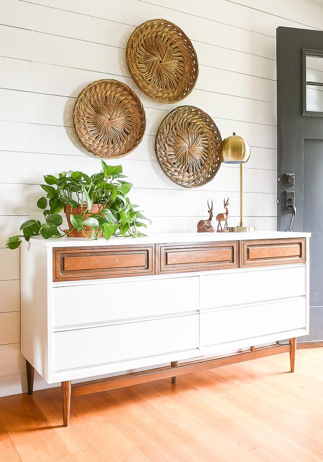 Two-tone painted vintage Bassett dresser