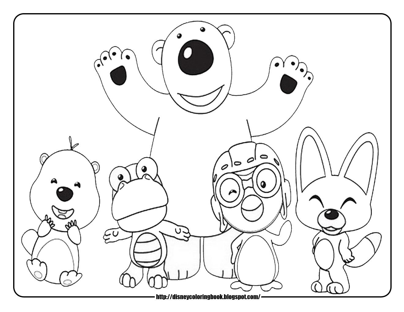 Pororo The Little Penguin Free Disney Coloring Sheets