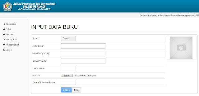Halaman Input Data Buku (Backend)
