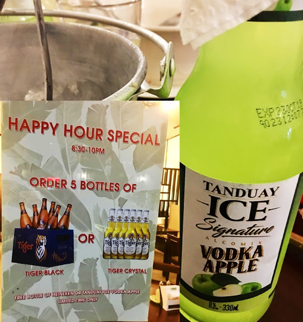 Maboy's Food House Happy Hour Special. Order 5 bottles of Tiger Black or Tiger Crystal and get a free bottle of Heineken or Tanduay Ice Vodka Apple