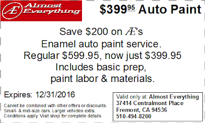 Coupon $399.95 Auto Paint Sale December 2016