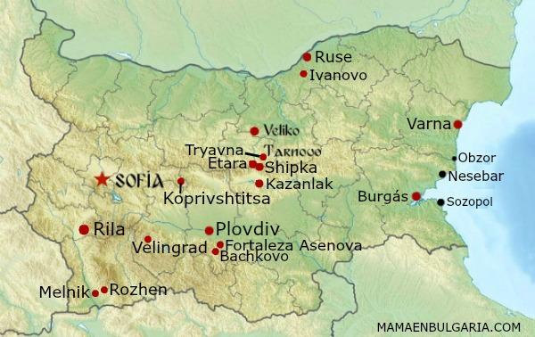 Mapa Bulgaria ciudades