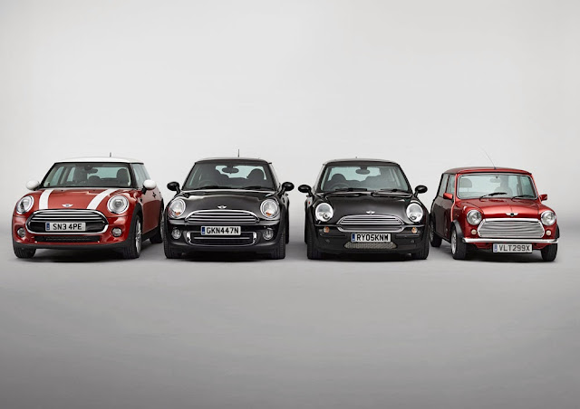 Four MINI Cooper Generations