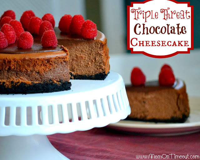 Triple Threat Chocolate Cheesecake - deliciously decadent chocolate cheesecake - easy and so amazing! | MomOnTimeout.com