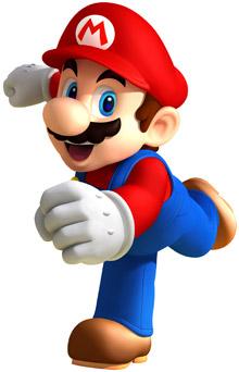 Dibujo de Mario Bros en plena corrida y con su ropa típica