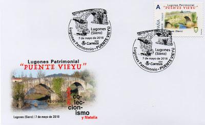 Sobre con el matasellos del Puente Viejo de Lugones