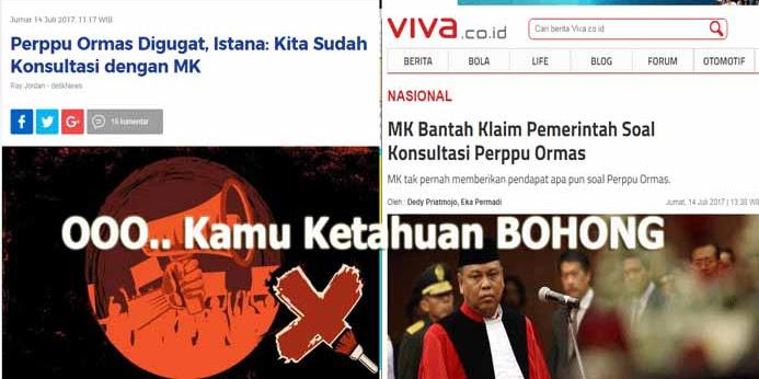 Nah Ternyata Bohong, MK Bantah Klaim Istana Pernah Konsultasi Soal Perppu Ormas