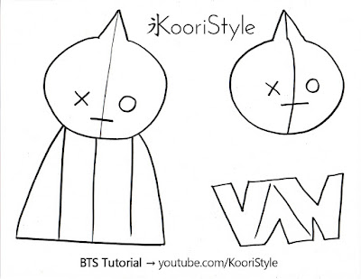 Koori Style, KooriStyle, BTS, BT21, Van, Tata, Taehyung, Pin, Brooch, Broche, Felt, DIY, Tutorial, Make, Easy, Cute, Kpop, Facil, Fieltro, Plantilla, Printable