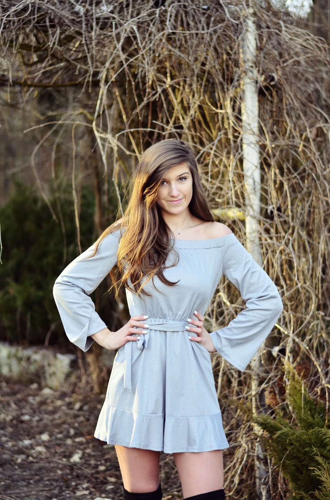 GRAY DRESS OFF SHOULDER || YOINS.COM ♥