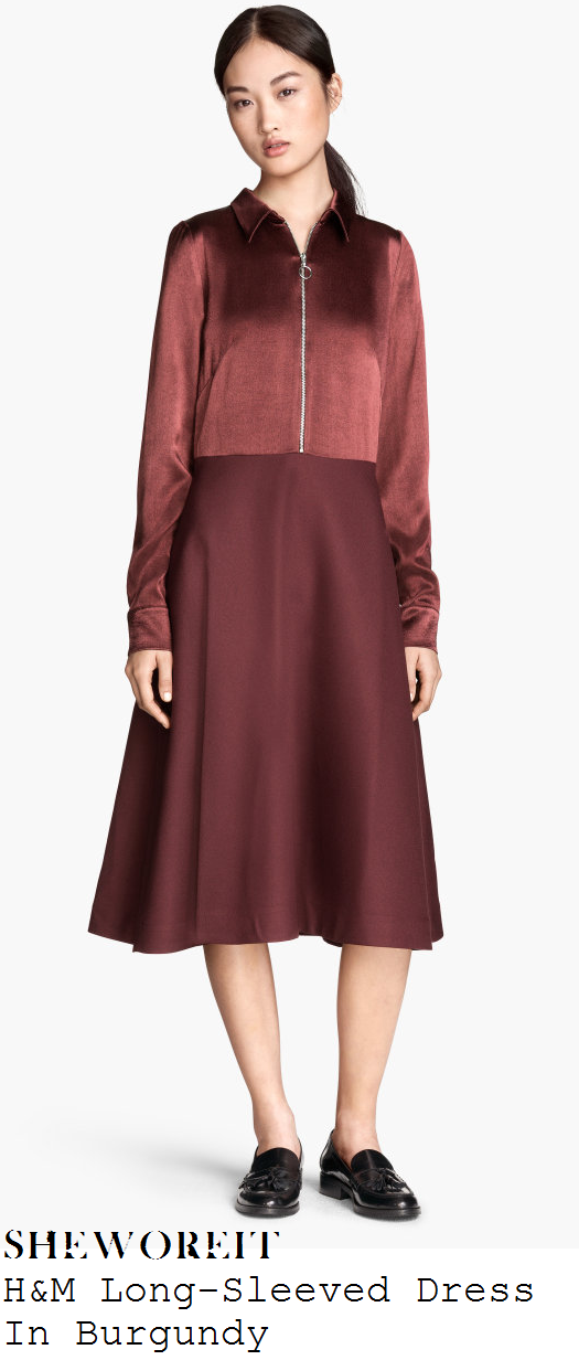 lauren-pope-burgundy-purple-faux-satin-zip-front-collared-long-sleeve-dress-sun-bizarre-party
